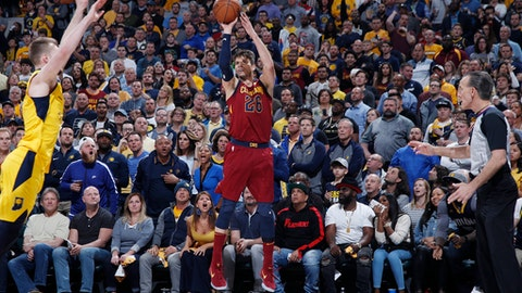 INDIANAPOLIS, IN - APRIL 22: Kyle Korver #26 of the Cleveland Cavaliers hits a three-point basket against the Indiana Pacers in the second half of game four of the NBA Playoffs at Bankers Life Fieldhouse on April 22, 2018 in Indianapolis, Indiana. The Cavaliers won 104-100. (Photo by Joe Robbins/Getty Images)