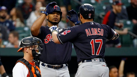 Cleveland Indians' Yonder Alonso (17) high-fives teammate Edwin Encarnacion after batting him in on a two-run home run in front of Baltimore Orioles catcher Chance Sisco in the second inning of a baseball game, Monday, April 23, 2018, in Baltimore. (AP Photo/Patrick Semansky)