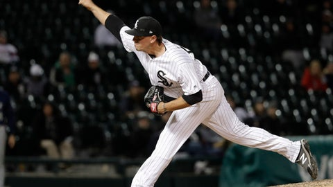 Chicago White Sox's Chris Beck delivers during the ninth inning of a baseball game against the Seattle Mariners Monday, April 23, 2018, in Chicago. The White Sox won 10-4. (AP Photo/Charles Rex Arbogast)