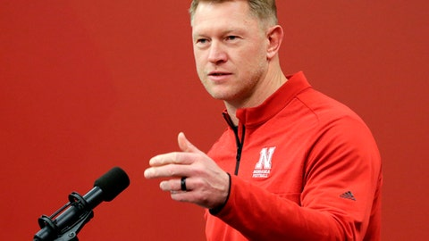 FILE - In this Feb. 7, 2018, file photo, Nebraska coach Scott Frost speaks during an NCAA college football news conference in Lincoln, Neb. Frost came out of his first spring practice at Nebraska with this observation about the 4-8 team he's taking over: There'll be no quick fix. (AP Photo/Nati Harnik, File)