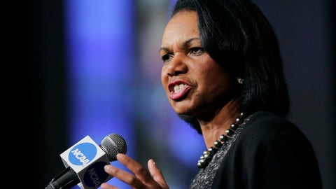 """FILE - In this Jan. 14, 2016, file photo, former Secretary of State Condoleeza Rice speaks during a luncheon at the NCAA Convention in San Antonio. College basketball spent an entire season operating amid a federal corruption investigation that magnified long-simmering problems within the sport, from unethical agent conduct to concerns over the """"one-and-done"""" model. On Wednesday morning, April 25, 2018, the commission headed by Condoleezza Rice will present its proposed reforms to university presidents of the NCAA Board of Governors and the Division I Board of Directors at the NCAA headquarters in Indianapolis.(AP Photo/Eric Gay, File)"""