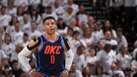 SALT LAKE CITY, UT - APRIL 23:  Russell Westbrook #0 of the Oklahoma City Thunder looks on during the game against the Utah Jazz in Game Four of Round One of the 2018 NBA Playoffs on April 23, 2018 at vivint.SmartHome Arena in Salt Lake City, Utah. (Photo by Garrett Ellwood/NBAE via Getty Images)