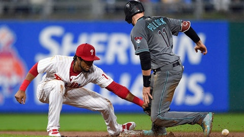 Arizona Diamondbacks' A.J. Pollock, right, slides safely past the tag of Philadelphia Phillies' Pedro Florimon to steal second base during the eighth inning of a baseball game, Tuesday, April 24, 2018, in Philadelphia. The Diamondbacks won 8-4. (AP Photo/Derik Hamilton)