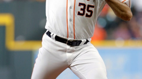 Houston Astros' starting pitcher Justin Verlander (35) throws against the Los Angeles Angels during the first inning of a baseball game Wednesday, April 25, 2018, in Houston. (AP Photo/Michael Wyke)