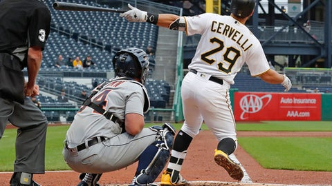 Pittsburgh Pirates' Francisco Cervelli (29) watches his three-run home run off Detroit Tigers starting pitcher Jordan Zimmermann in the third inning of the first baseball game of a double header in Pittsburgh, Wednesday, April 25, 2018. (AP Photo/Gene J. Puskar)