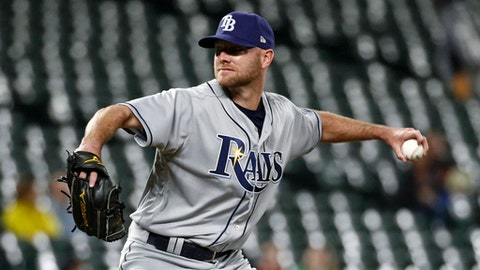 Tampa Bay Rays relief pitcher Jonny Venters throws to a Baltimore Orioles batter during the sixth inning of a baseball game Wednesday, April 25, 2018, in Baltimore. (AP Photo/Patrick Semansky)