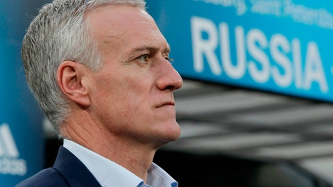 FILE - In this Tuesday, March 27, 2018 file photo, France's head coach Didier Deschamps awaiting the kickoff during the international friendly soccer match between Russia and France at the Saint Petersburg stadium in St.Petersburg, Russia. (AP Photo/Dmitri Lovetsky, File)