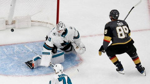 Vegas Golden Knights right wing Alex Tuch (89) scores against San Jose Sharks goaltender Martin Jones (31) during the first period of Game 1 of an NHL hockey second-round playoff series Thursday, April 26, 2018, in Las Vegas. (AP Photo/John Locher)