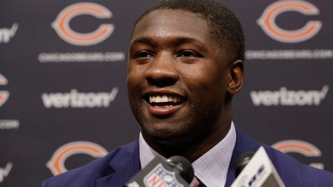 Chicago Bears first round draft pick, University of Georgia linebacker Roquan Smith, smiles during an introductory NFL football news conference Friday, April 27, 2018, in Lake Forest , Ill. (AP Photo/Charles Rex Arbogast)