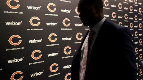 Chicago Bears first round draft pick, University of Georgia linebacker Roquan Smith, departs an introductory NFL football news conference Friday, April 27, 2018, in Lake Forest , Ill. (AP Photo/Charles Rex Arbogast)