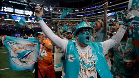 Miami Dolphins fans cheer during the second round of the NFL football draft, Friday, April 27, 2018, in Arlington, Texas. (AP Photo/Eric Gay)