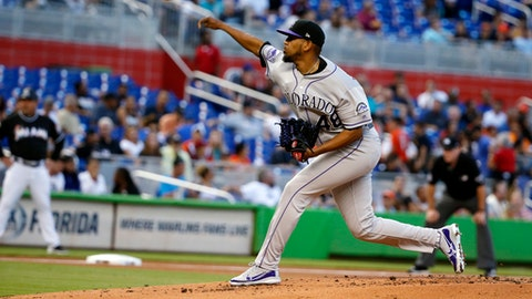 Colorado Rockies' German Marquez delivers a pitch during the first inning of a baseball game against the Miami Marlins, Saturday, April 28, 2018, in Miami. (AP Photo/Wilfredo Lee)