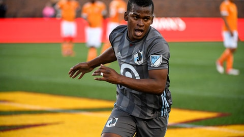 Minnesota United midfielder Darwin Quintero reacts after scoring a goal off a penalty kick against the Houston Dynamo in the first half of an MLS soccer game Saturday, April 28, 2018, in Minneapolis. (Aaron Lavinsky/Star Tribune via AP)