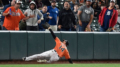 Baltimore Orioles left fielder Craig Gentry catches a foul ball hit by Detroit Tigers Victor Martinez in the fourth inning of baseball game, Saturday, April 28, 2018, in Baltimore. (AP Photo/Gail Burton)