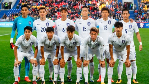 In this photo taken on Saturday, Oct. 7, 2017, South Korea's soccer team players pose prior the international friendly soccer match between Russia and South Korea in Moscow. (AP Photo/Pavel Golovkin)