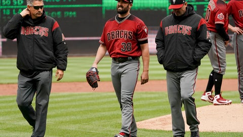 Arizona Diamondbacks starting pitcher Robbie Ray (38) leaves the game during the second inning of a baseball game against the Washington Nationals at Nationals Park Sunday, April 29, 2018, in Washington. (AP Photo/Andrew Harnik)
