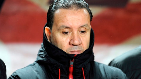 In this photo taken on Friday March 23, 2018, Tunisia's national soccer coach Nabil Maaloul is pictured during a friendly soccer match between Tunisia and Iran in Tunis. (AP Photo/Hassene Dridi)