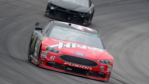 BRISTOL, TN - APRIL 15:  Ryan Blaney, driver of the #12 REV Ford, is involved in an on-track incident during the Monster Energy NASCAR Cup Series Food City 500 at Bristol Motor Speedway on April 15, 2018 in Bristol, Tennessee.  (Photo by Robert Laberge/Getty Images)