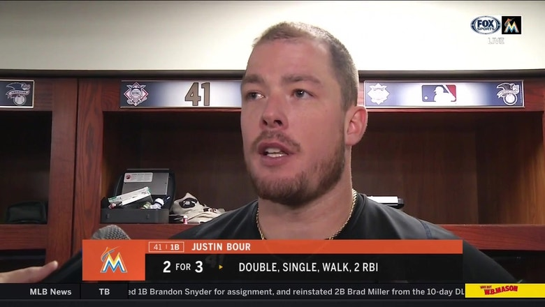 Justin Bour: 'I would much rather go 0 for 4 with 4 strikeouts than commit an error on the bases'