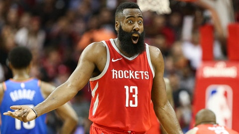 Apr 7, 2018; Houston, TX, USA; Houston Rockets guard James Harden (13) reacts after a play during the first half against the Oklahoma City Thunder at Toyota Center. Mandatory Credit: Troy Taormina-USA TODAY Sports