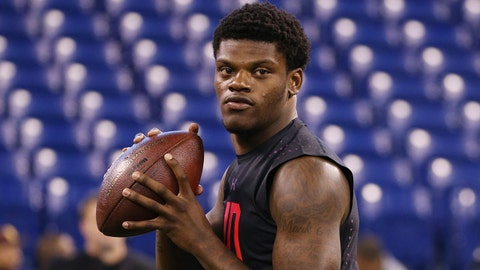 Mar 3, 2018; Indianapolis, IN, USA; Louisville Cardinals quarterback Lamar Jackson throws a pass during the 2018 NFL Combine at Lucas Oil Stadium. Mandatory Credit: Brian Spurlock-USA TODAY Sports