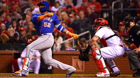 Apr 24, 2018; St. Louis, MO, USA; New York Mets left fielder Yoenis Cespedes (52) hits a three run home run off of St. Louis Cardinals starting pitcher Luke Weaver (not pictured) during the fifth inning at Busch Stadium. Mandatory Credit: Jeff Curry-USA TODAY Sports