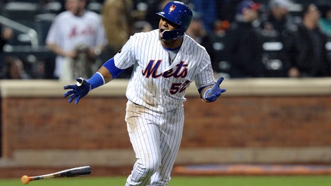 Apr 18, 2018; New York City, NY, USA; New York Mets left fielder Yoenis Cespedes (52) reacts after hitting a grand slam against the Washington Nationals during the eighth inning at Citi Field. Mandatory Credit: Brad Penner-USA TODAY Sports