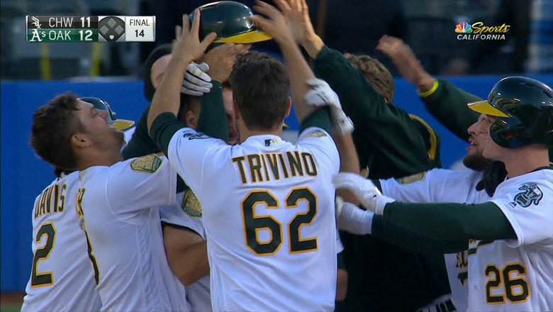 Matt Olson singles with the bases loaded to give Oakland walk-off win in the 14th inning