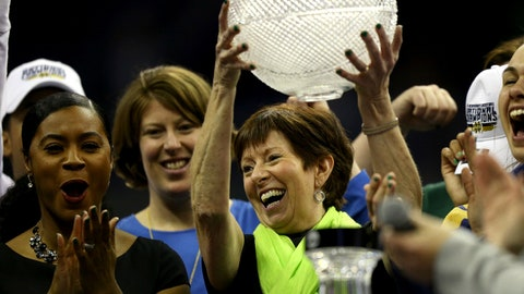 Apr 1, 2018; Columbus, OH, USA; Notre Dame Fighting Irish head coach Muffet McGraw lifts up part of the coaches trophy after defeating the Mississippi State Lady Bulldogs in the championship game of the women's Final Four in the 2018 NCAA Tournament at Nationwide Arena. Notre Dame won 61-58. Mandatory Credit: Aaron Doster-USA TODAY Sports