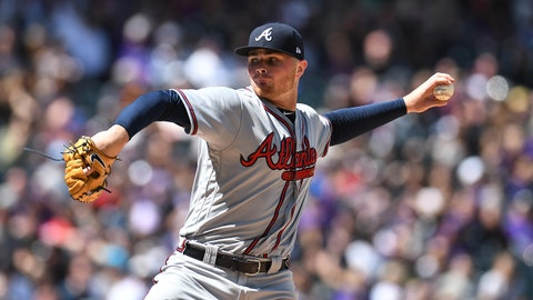 Apr 8, 2018; Denver, CO, USA; Atlanta Braves starting pitcher Sean Newcomb (15) delivers a pitch in the first inning against the Colorado Rockies at Coors Field. Mandatory Credit: Ron Chenoy-USA TODAY Sports