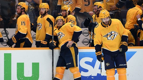 Apr 27, 2018; Nashville, TN, USA; Nashville Predators players react after a loss to the Winnipeg Jets in game one of the second round of the 2018 Stanley Cup Playoffs at Bridgestone Arena. Mandatory Credit: Christopher Hanewinckel-USA TODAY Sports