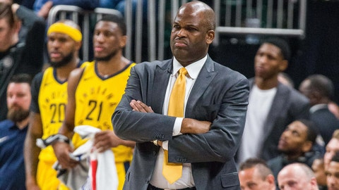 Apr 22, 2018; Indianapolis, IN, USA; Indiana Pacers head coach Nate McMillan reacts to a call on the sideline in the second half of game four against the Cleveland Cavaliers in the first round of the 2018 NBA Playoffs at Bankers Life Fieldhouse. Mandatory Credit: Trevor Ruszkowski-USA TODAY Sports