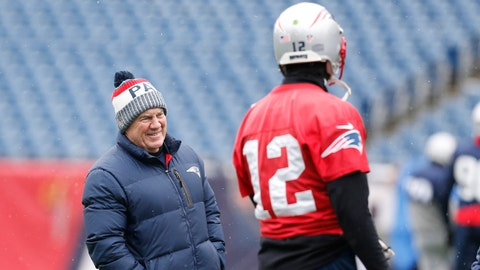 Jan 17, 2018; Foxborough, Massachussetts, USA; New England Patriots head coach Bill Belichick talks with quarterback Tom Brady (12) during practice before the AFC Press Conference at Gillette Stadium. Mandatory Credit: Greg M. Cooper-USA TODAY Sports