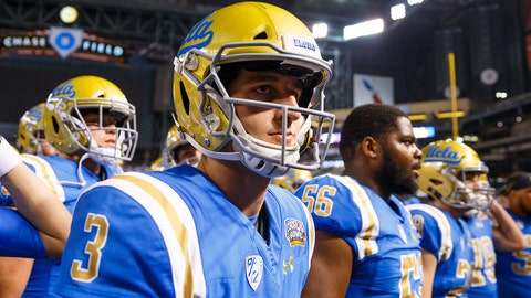Dec 26, 2017; Phoenix, AZ, USA; UCLA Bruins quarterback Josh Rosen (3) prior to the game against the Kansas State Wildcats in the 2017 Cactus Bowl at Chase Field. Mandatory Credit: Mark J. Rebilas-USA TODAY Sports