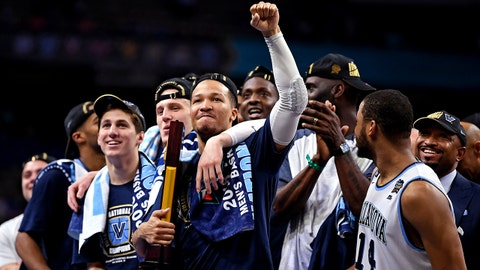 Apr 2, 2018; San Antonio, TX, USA; Villanova Wildcats guard Jalen Brunson (1) celebrates after beating the Michigan Wolverines in the championship game of the 2018 men's Final Four at Alamodome. Mandatory Credit: Bob Donnan-USA TODAY Sports