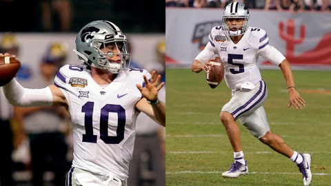 Kansas State quarterbacks Skylar Thompson (left) and Alex Delton.