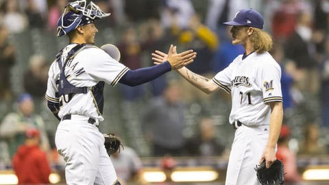 Yu Darvish strikes out eight Brewers, gets no-decision