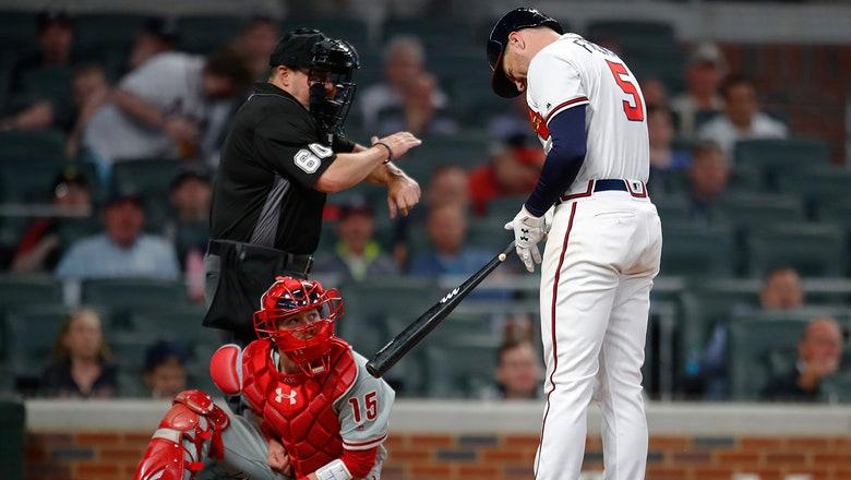 Braves await word after Freddie Freeman hit on wrist by pitch again