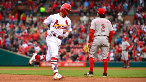 Apr 22, 2018; St. Louis, MO, USA; St. Louis Cardinals second baseman Kolten Wong (16) runs the bases after hitting a solo home run off of Cincinnati Reds starting pitcher Luis Castillo (not pictured) during the second inning at Busch Stadium. Mandatory Credit: Jeff Curry-USA TODAY Sports