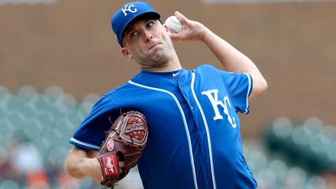 Kansas City Royals starting pitcher Danny Duffy throws during the first inning of a baseball game against the Detroit Tigers, Saturday, April 21, 2018, in Detroit. (AP Photo/Carlos Osorio)