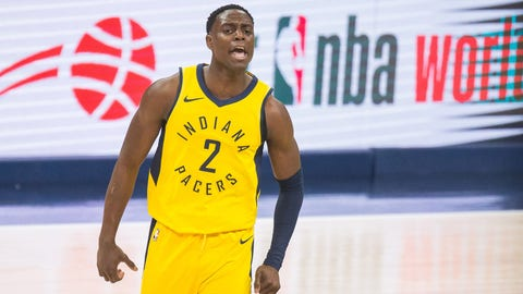 Apr 27, 2018; Indianapolis, IN, USA; Indiana Pacers guard Darren Collison (2) celebrates a made three point basket in the second half against the Cleveland Cavaliers in game six of the first round of the 2018 NBA Playoffs at Bankers Life Fieldhouse. Mandatory Credit: Trevor Ruszkowski-USA TODAY Sports