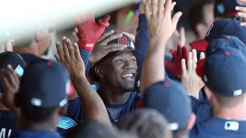 Mar 15, 2018; Lake Buena Vista, FL, USA; Atlanta Braves outfielder Ronald Acuna Jr. (82) is congratulated in the dugout as he hits a 2-run home run during the third inning against the Detroit Tigers at Champion Stadium. Mandatory Credit: Kim Klement-USA TODAY Sports