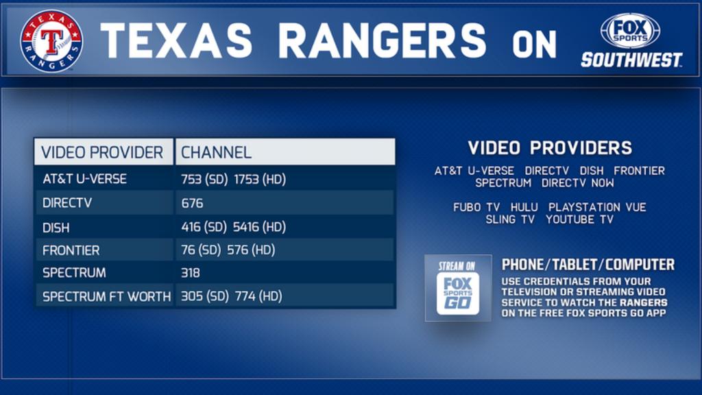 Texas Rangers Channel Listings Information Fox Sports