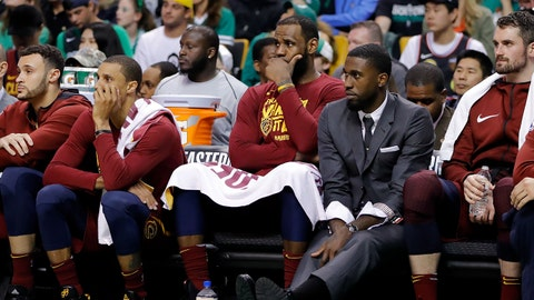 May 13, 2018; Boston, MA, USA; Cleveland Cavaliers forward LeBron James (23) watches the action against the Boston Celtics from the bench during the fourth quarter in game one of the Eastern conference finals of the 2018 NBA Playoffs at TD Garden. Mandatory Credit: David Butler II-USA TODAY Sports