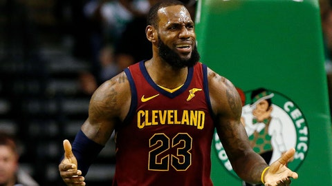May 13, 2018; Boston, MA, USA; Cleveland Cavaliers forward LeBron James (23) reacts to a foul during the third quarter against the Boston Celtics in game one of the Eastern conference finals of the 2018 NBA Playoffs at TD Garden. Mandatory Credit: Winslow Townson-USA TODAY Sports