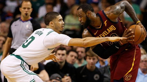 May 13, 2018; Boston, MA, USA; Boston Celtics forward Jayson Tatum (0) defends Cleveland Cavaliers forward LeBron James (23) during the third quarter in game one of the Eastern conference finals of the 2018 NBA Playoffs at TD Garden. Mandatory Credit: Winslow Townson-USA TODAY Sports