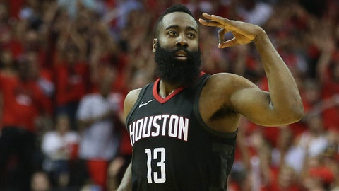 May 16, 2018; Houston, TX, USA; Houston Rockets guard James Harden (13) reacts after scoring a basket against the Golden State Warriors during the second half in game two of the Western conference finals of the 2018 NBA Playoffs at Toyota Center. Mandatory Credit: Thomas B. Shea-USA TODAY Sports