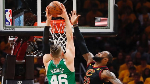 May 19, 2018; Cleveland, OH, USA; Boston Celtics center Aron Baynes (46) attempts a basket in front of Cleveland Cavaliers forward LeBron James (23) during the first quarter in game three of the Eastern conference finals of the 2018 NBA Playoffs at Quicken Loans Arena. Mandatory Credit: Rick Osentoski-USA TODAY Sports