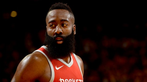 OAKLAND, CA - MAY 20:  James Harden #13 of the Houston Rockets looks on during the game against the Golden State Warriors in Game Three of the Western Conference Finals of the 2018 NBA Playoffs on May 20, 2018 at ORACLE Arena in Oakland, California. NOTE TO USER: User expressly acknowledges and agrees that, by downloading and or using this photograph, user is consenting to the terms and conditions of Getty Images License Agreement. Mandatory Copyright Notice: Copyright 2018 NBAE (Photo by Noah Graham/NBAE via Getty Images)