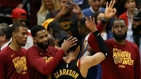 May 19, 2018; Cleveland, OH, USA; Cleveland Cavaliers forward LeBron James (23) celebrates with guard Jordan Clarkson (8) after beating the Boston Celtics in game three of the Eastern conference finals of the 2018 NBA Playoffs at Quicken Loans Arena. Mandatory Credit: Aaron Doster-USA TODAY Sports